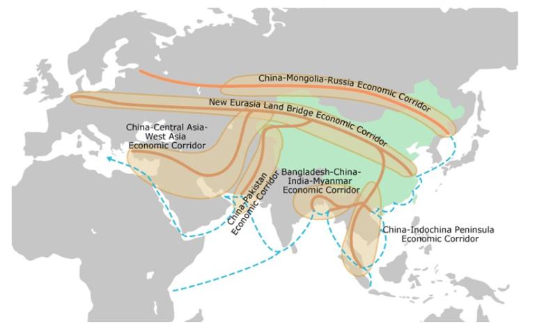 Figure 1: BRI economic corridors spanning Asia, Europe and Africa. Source: Losos E. et al., 2019.