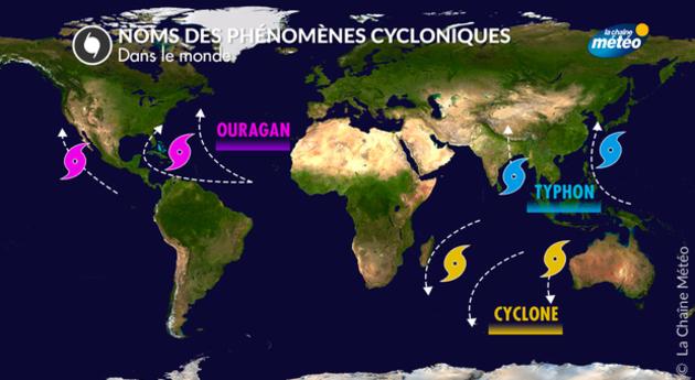Les grandes zones cycloniques - Source : La Chaîne Météo