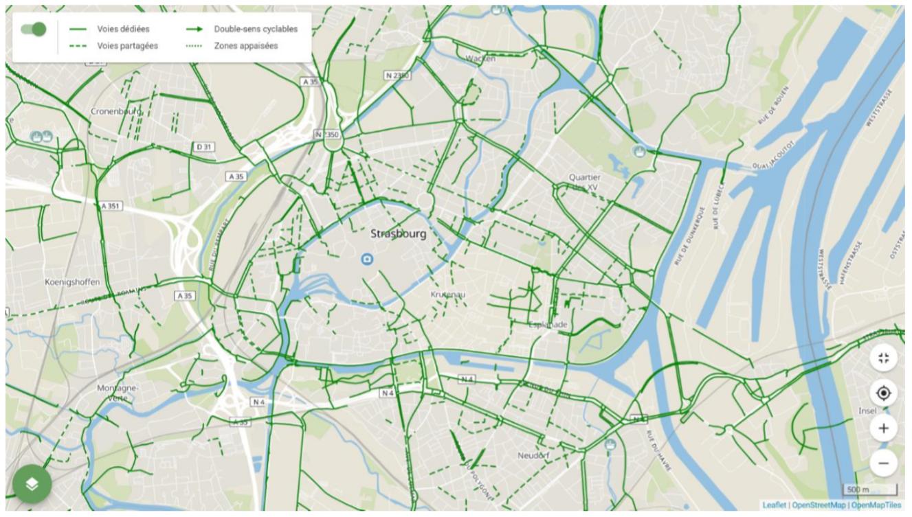 Capture d'écran de l'application Géovélo à Strasbourg : recensement des voies cyclables
