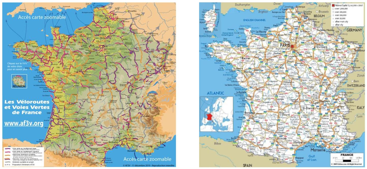 A gauche, la carte des « voies et routes cyclables [10] » et à droite celle des routes nationales [11]