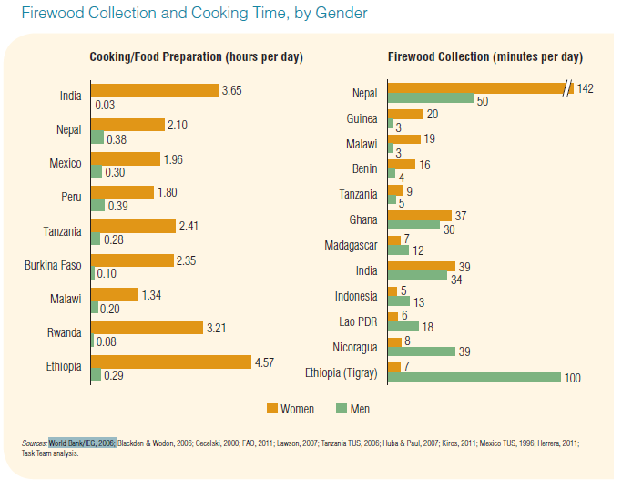 Figure 4: Firewood Collection and Cooking Time by Gender. Source: Putti et al. 2015