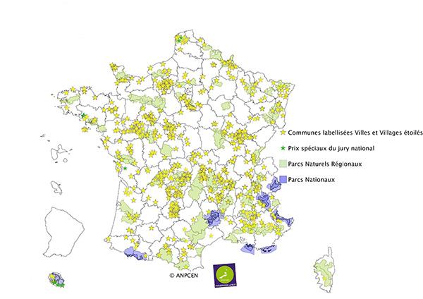 Carte des communes labellisées «Villes et villages étoilées» de l'ANPCEN en 2017