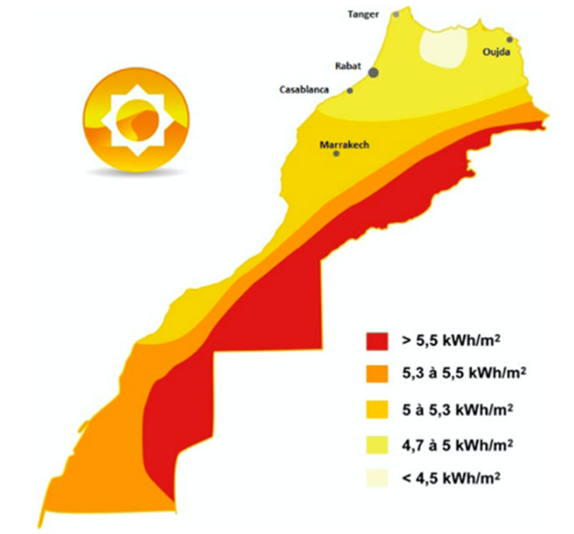 Figure 4: Morocco solar potential (MASEN)