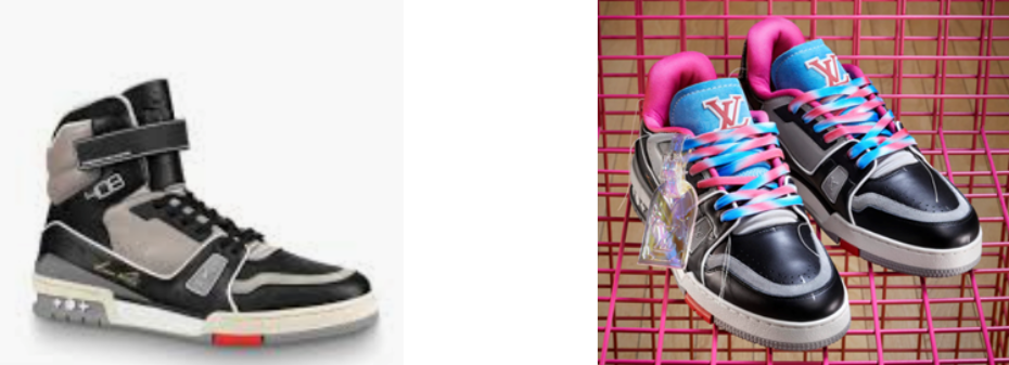 A gauche: la LV trainer d'origine. A droite: sa version «LV upcycling»